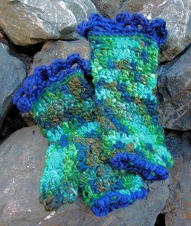 Green & Blue Wrist Warmers
